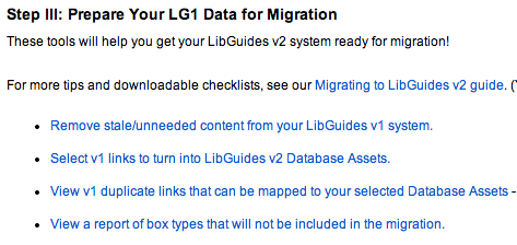 List of reports available on the LibGuides v2 Migration screen
