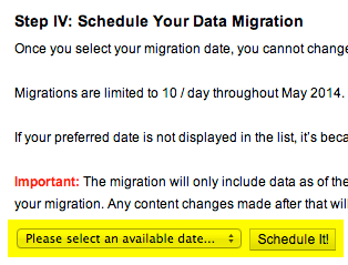 Content migration screen with date selection area highlighted.