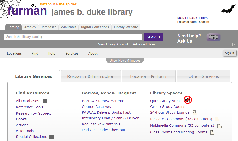 Furman Library's LibGuides CMS  Halloween Decorations