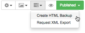 Screenshot showing Create HTML Backup location.