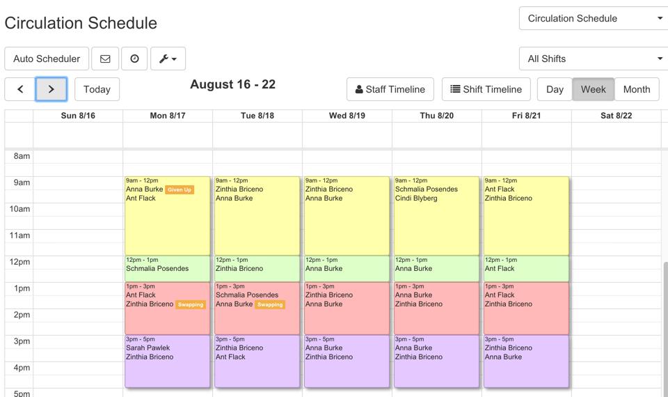 staff scheduling calendar
