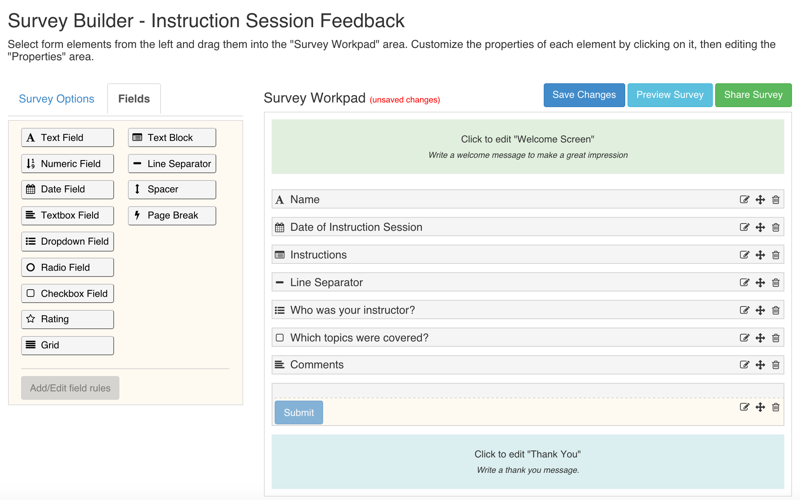 Survey Workpad