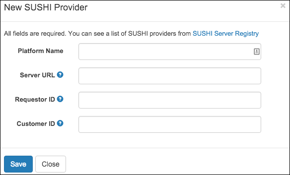 The Add a SUSHI provider screen