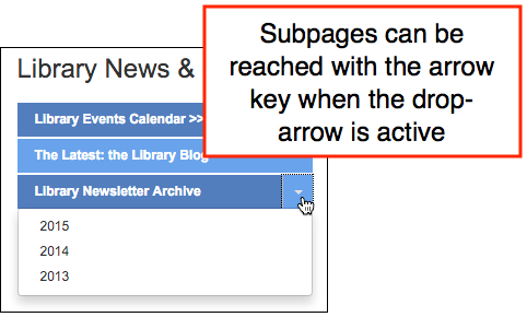 Screen readers will detect a toggle menu. Arrow keys can be used to accessed subpages.