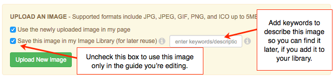 screenshot of image manager checkboxes to add image to library