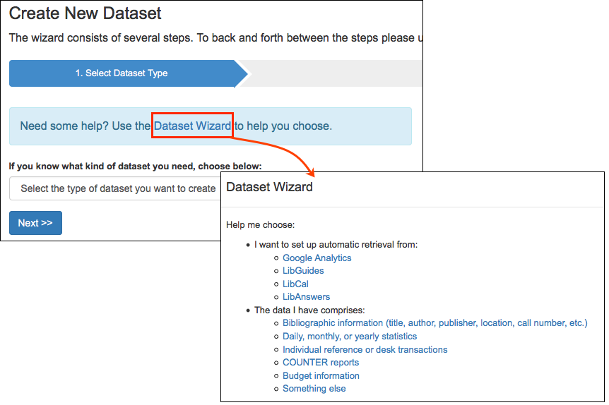 Screenshot of libinsight datset wizard