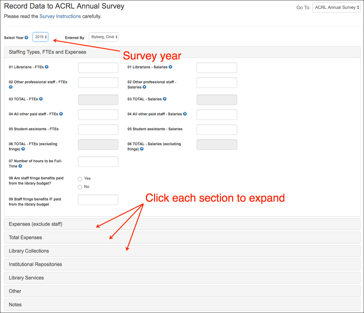 screenshot of ACRL survey form