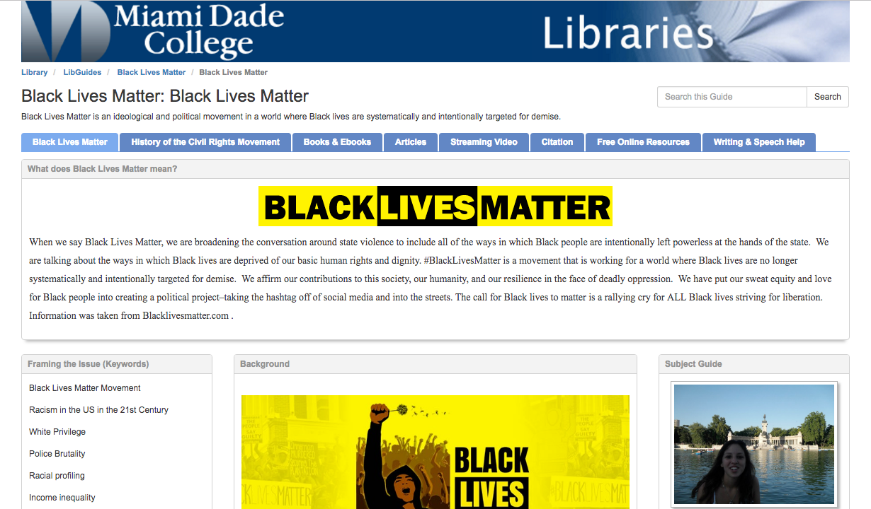 Black Lives Matter LibGuide