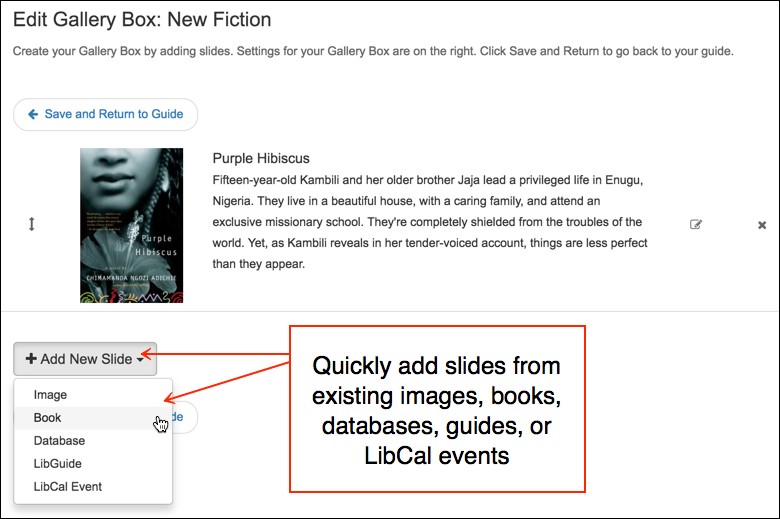 screenshot of the Add New Slide menu containing image, book, database, LibGuide, and LibCal Event options