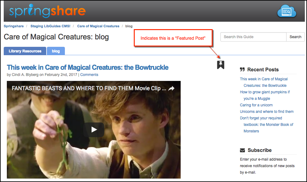 Screenshot of a guide blog with a featured post