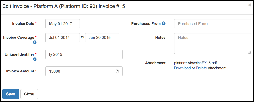 LibInsight Add New Invoice Screen