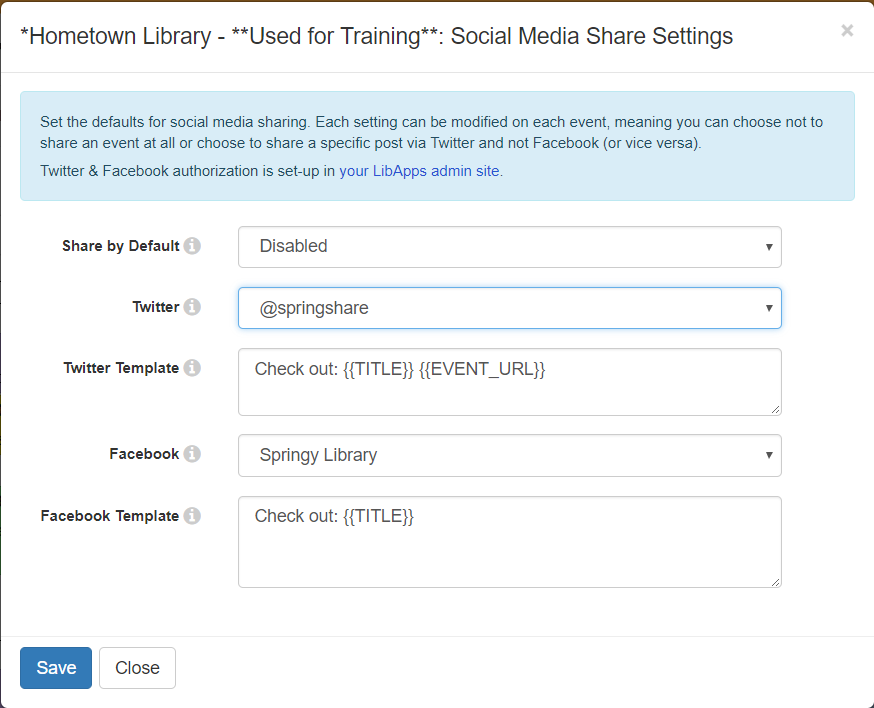 social media sharing settings