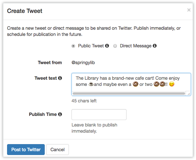 Emojis in Twitter - LibAnswers Social Media Management Posting