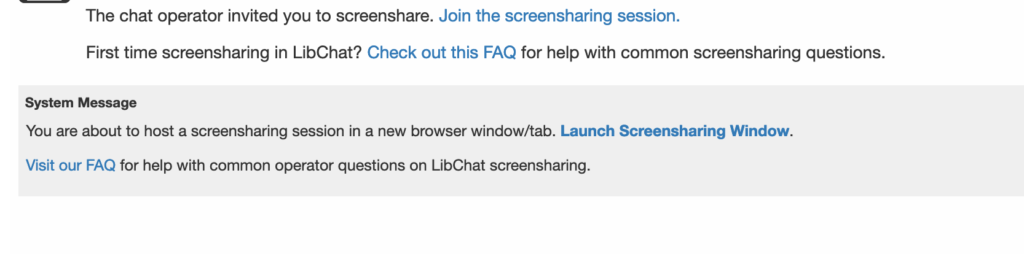 Previous LibChat Screenshare Launch Text