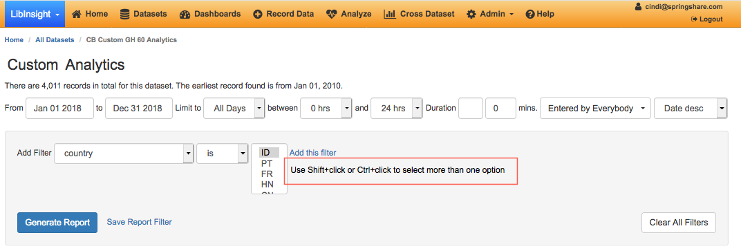 screenshot showing additional help text to assist with selecting more than one value in a filter