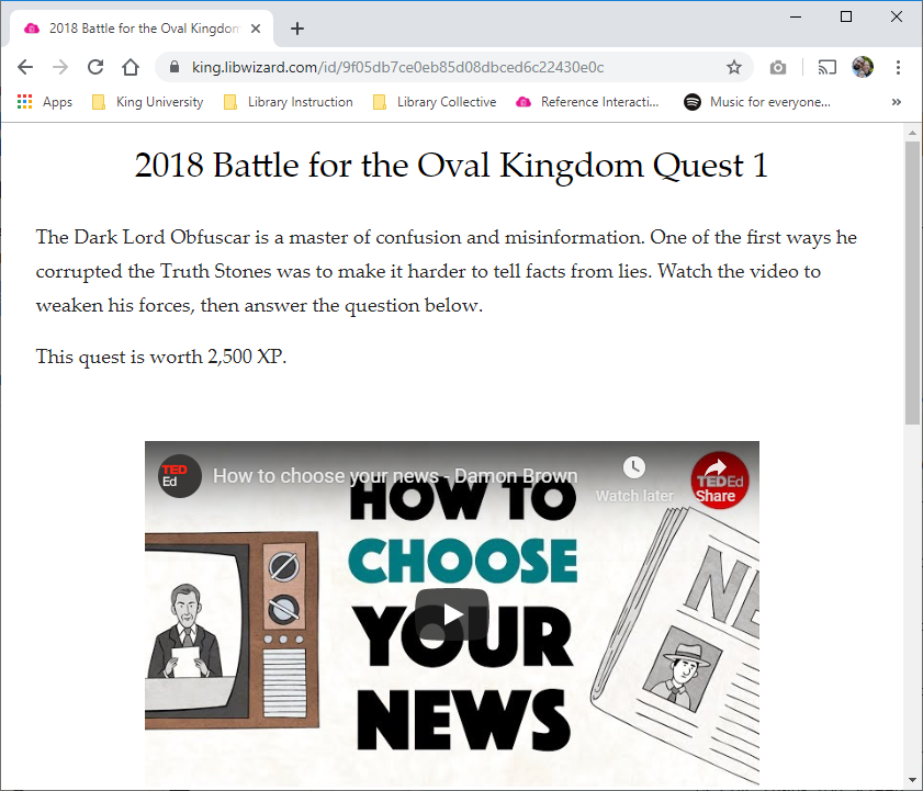 2018 Battle for the Oval Kingdom Quest 1