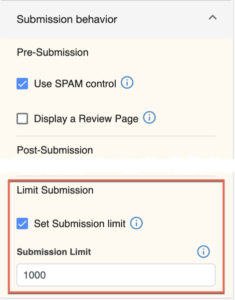 Setting the submission limit in a LibWizard item.