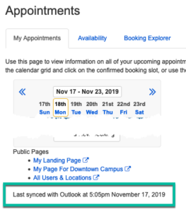 Check below your Appointments grid / public pages link to see when your acccount was last synced.