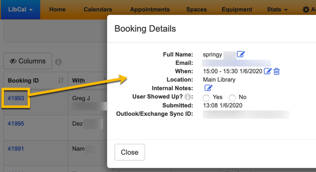 Example of the Booking Details screen.