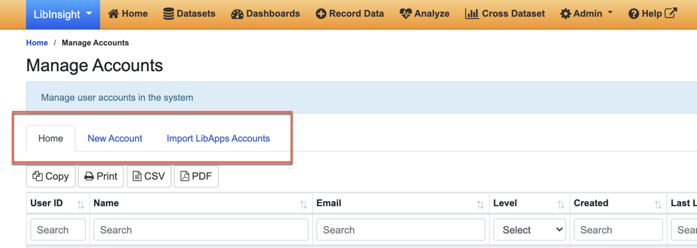 LibInsight Manage Account