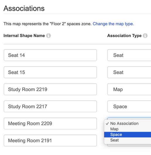 Mapping associations